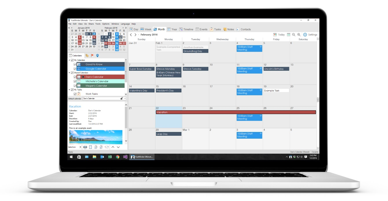 Calendario Windows 10 Su Desktop.Vueminder The Best Windows Calendar App