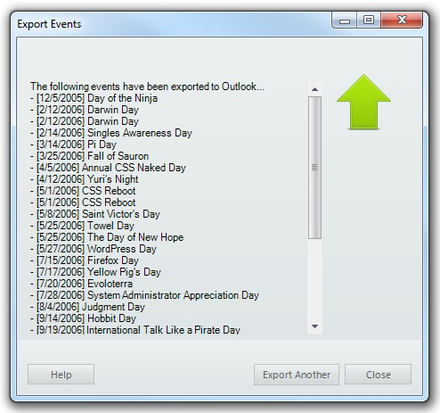 VueMinder Pro and Ultimate Help - Export Events to Outlook