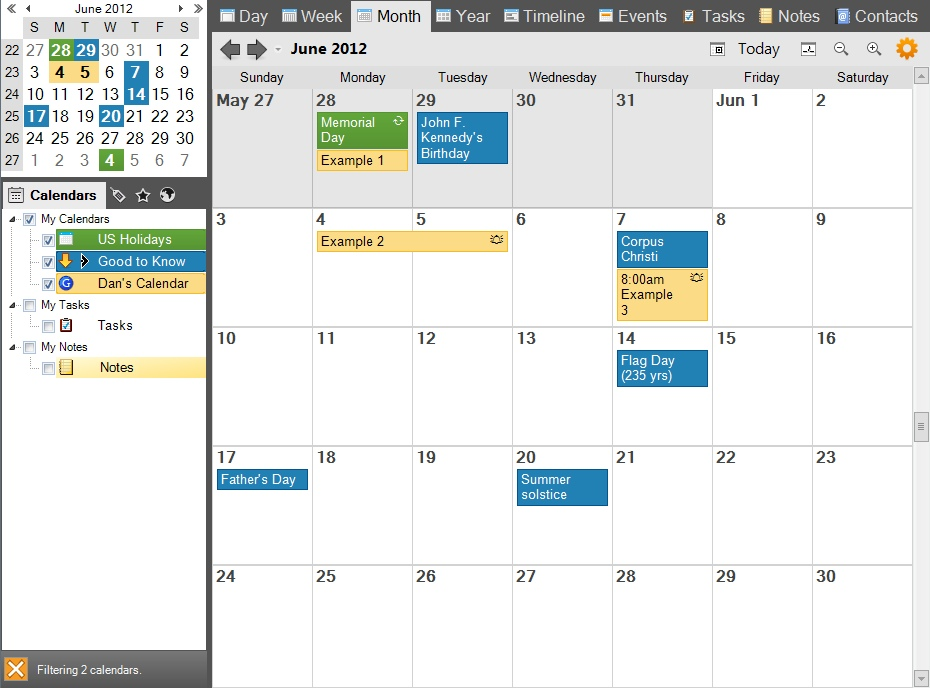 Monthly Calendar Views : Vueminder pro and ultimate help month view