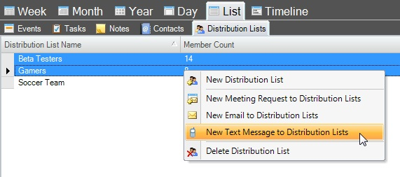 Email and text messages can be sent to selected contacts or distribution lists.