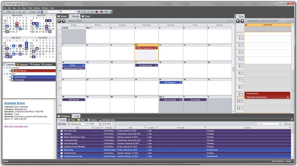Tabs can be docked anywhere in the main window, allowing unlimited flexibility to how calendar data is presented.
