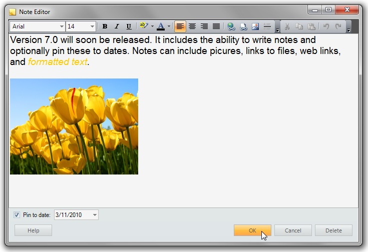 The note editor supports enhanced formatting, including pictures and links.