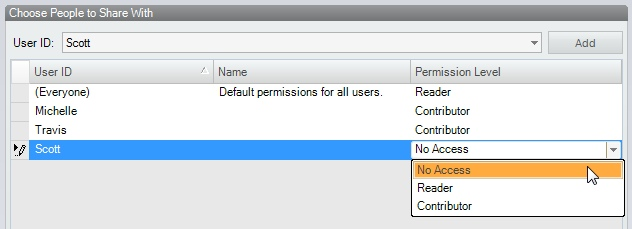 Permission levels can be assigned for individual users, overriding the default.