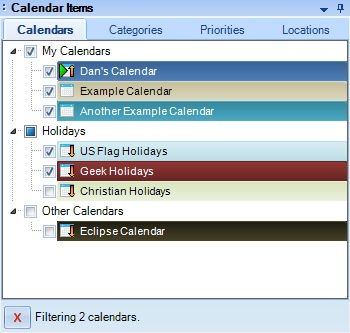 The Calendar Items area contains tabs for visualizing you schedule in different ways.